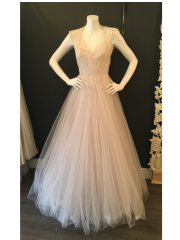 Blush tulle dress by David Fielden. Good condition. Size 14